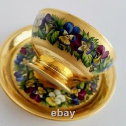 Extremely rare Vienna teacup and saucer, gilt and pansies by Anton Friedl, 1826