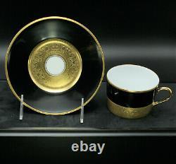 Faberge Empire Noir et Or Tea Cup & Saucer Limoges Porcelain China 24k Gold