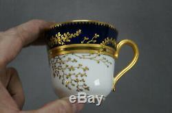 Fischer & Mieg Pirkenhammer Cobalt & Gold Leaf Coffee Cup & Saucer C. 1873-1918