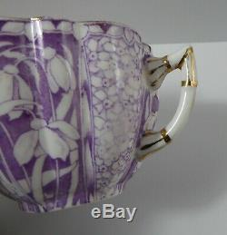 Foley China Snowdrop Lavender/White trio cup, saucer, plate withgold edges