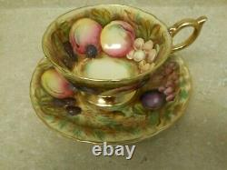 Footed Cup & Saucer Set Orchard Aynsley Fruit and Gold signed D. Jones