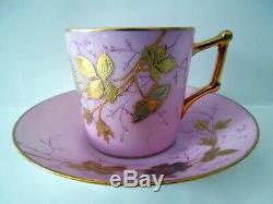 French Cup Saucer Old Paris Depose Raised Gold Bronze Flowers Leaves High Saucer