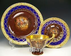 GERMANY COBALT BLUE NAPOLEON AT THE BATTLE GOLD GILT TRIO FOOTED CUP & SAUCER e