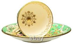GORGEOUS Staffordshire Porcelain Tea Cup and Saucer Green Gold Floral c. 1848 A