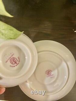 George Jones & Sons Crescent Tea Cup & Saucer Hand Painted Roses Raised Gold