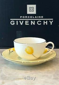 Givenchy Porcelain Morning Yellow Tulip Gold Rim Teacup & Saucer Set of 5 NEW
