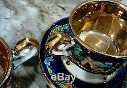 Gold Cobalt Blue Capodimonte Ornate19 Pc Teaset Teapot Sugar Creamer Cup/Saucers
