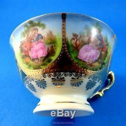 Gold Hand Painted Fragonard Love Story Bavaria Beehive Germany Tea Cup & Saucer