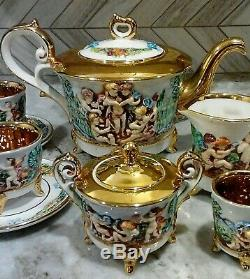 Gold White Capodimonte 15 PC Teaset Teapot Creamer Sugar Bowl Cups & Saucers