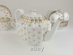 Good Spode Gold Fleur De Lys Tea Set, 14 Pieces, Teapot, Cups & Saucers, Milk