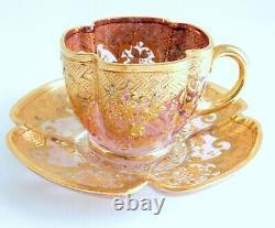Gorgeous Antique Moser Bohemian Cranberry Gold Enamel Demitasse Cup & Saucer