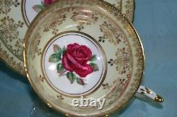 Gorgeous Vint Paragon bone china cup saucer- YellowithGold with Red Cabbage Rose