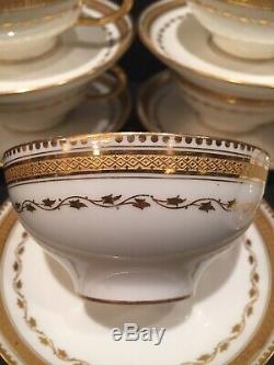 Guerin Limoges Cups & Saucers Set Of 8 Heavy Gold Etched Stunning
