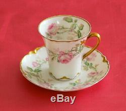 HAVILAND LIMOGES 4 Tall Cup/Saucer SETS Large Pink Rose With HAND ENAMEL GOLD