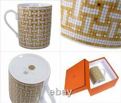 HERMES Porcelain Mug Cup Mosaicque Van Cattle 24 Tableware Ornament Auth Tea