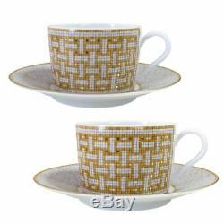 HERMES Porcelain Tea Cup Saucer Mosaique Van Cattle Gold Tableware Ornament New