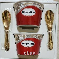 Haagen-Dazs Porcelain Cup & Gold Spoon Set Super Premium Club