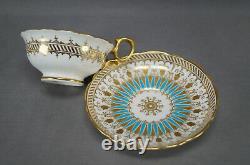 Hammersley Turquoise Enamel & Gold Bone China Tea Cup & Saucer Circa 1887-1912