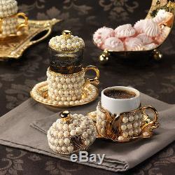 Handmade Copper Coffee Tea Water Zamzam Serving Set Swarovski Coated Gold Color