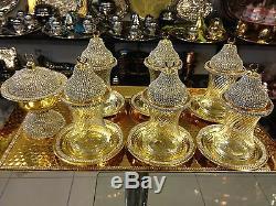 Handmade Copper Turkish Tea Water Zemzem Serving Set Swarovski Coated GoldColour