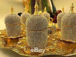 Handmade Turkish Arabic GREEK Coffee Cup Saucer Set (GOLD)Turkish