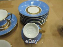 Handmalat Hackefors Sweden Porcelain Demitasse Cup, Saucer Blue White Gold set 8