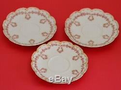 Haviland Limoges Covered Vegetable Cups Saucers Pink Roses Wreaths Double Gold
