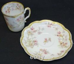 Haviland Limoges France Schleiger 91a Chocolate 6 Cups and Saucers -Double Gold