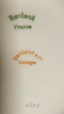 Haviland Limoges Pink Rose Gold Trim Tea Pot 6 Cups & Saucers