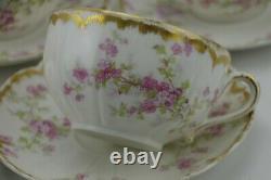 Haviland Schleiger 29K Double Gold Pink Roses Cup & Saucer Set of 5 Antique