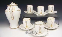 Haviland Schleiger Anniversary Gold Pot Cups & Saucers Chocolate Set