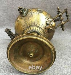 Heavy antique french Napoleon III incense burner cup 19th century bronze lions