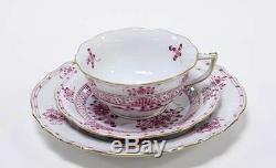 Herend Cup Saucer & Plate Hand Painted Cherry Pink Gold INDIAN BASKET
