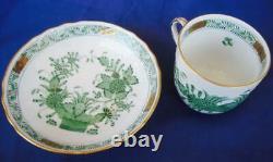 Herend Indian Basket Green 12pcs Mocha Cups & Saucers 24k Gold Demitasse #1727