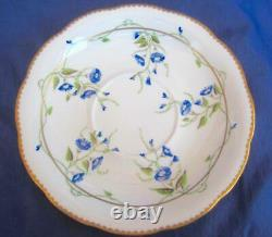 Herend Porcelain 2 Sets Morning Glory Footed Cup & Saucer Blue 24k Gold 20734/NY