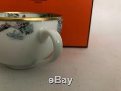 Hermès Carnets d' Equateur Birds Gold Trim Tea Cup Dinner Coffee Fine Porcelain