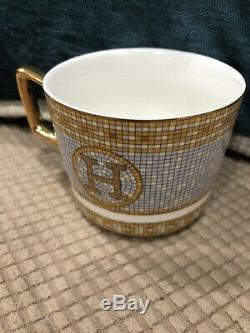 Hermes Cup & Saucer withteaspoon Orange and Gold with H Logo
