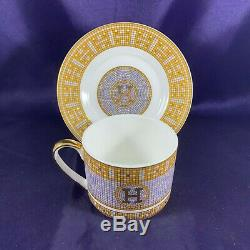 Hermes MOSAIQUE Au 24 (GOLD BAND, SILVER MOSAIC, SMOOTH) Cup & Saucer 2 1/2