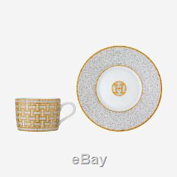 Hermes Mosaique Au 24 Gold Pair Of Teacups And Saucers #p026016p Brand Nib F/sh
