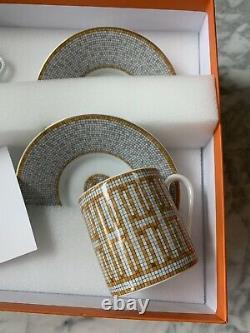 Hermes Mosaique au 24 Coffee Cup & Saucer Set of 2 Gold Porcelain