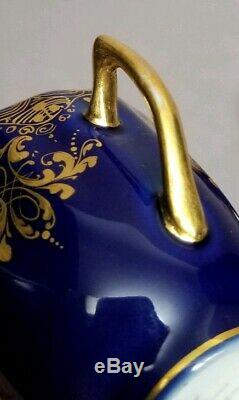 Heufel Dresden Hand Painted Courting Scene Cobalt Gold Demitasse Cup & Saucer #1