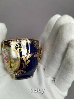 Heufel Dresden Hand Painted Courting Scene Cobalt Gold Demitasse Cup & Saucer #4