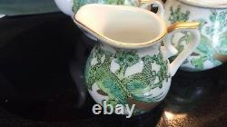 Imari Gold Teapot with lid, Creamer, Sugar Bowl withlid, 4 cups & 4 Saucers, candy dish