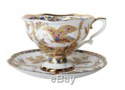 Imperial Porcelain Lomonosov Tea Cup saucer 7.4oz drawing Fantastic butterfly