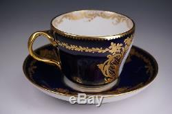 Incredible Cobalt Gold Hand Painted Old Paris Le Rosey Rihouet Cup and 5 Saucers
