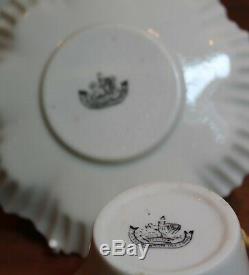 Irish Belleek 2nd Period Black Mark Butterscotch Hexagon Tea Cup & Saucer Gilded