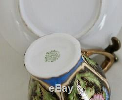 Japanese Porcelain Chocolate Pot with5 Cup & Saucer Set Nippon Green Wreath Mark