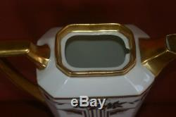 Jean Pouyat Limoges Chocolate Pot Cups & Saucers Hand Painted White Gold Silver