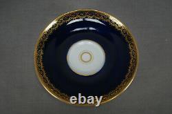 KPM Berlin Hand Painted Dresden Style Floral Cobalt & Gold Tea Cup & Saucer D