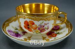 KPM Berlin Neuzierat Dresden Floral Raised Gold & Gold Interior Tea Cup & Saucer